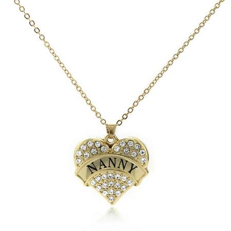 Nanny Gold Pave Heart Charm Necklace (Pave Heart Charm Necklace)
