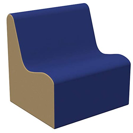SoftScape Wave Youth Sofa Seating, Play Soft Supportive Foam Furniture for Kids for Bedrooms, Playrooms, Classrooms - Blue/Sand