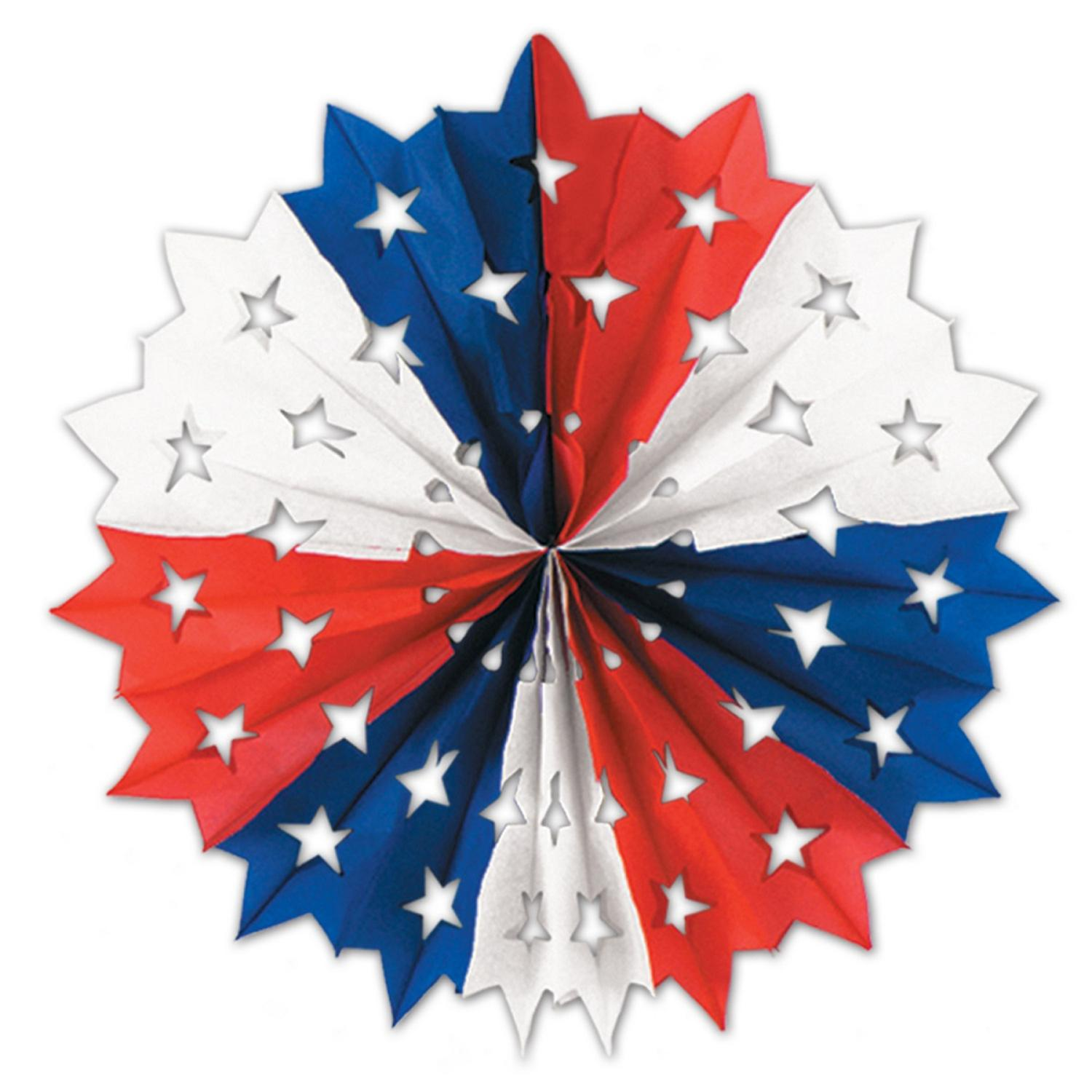 """Club Pack of 12 Red, White and Blue Patriotic Star Hanging Tissue Paper Fan Party Decorations 22"""""""