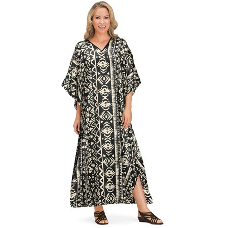 Women's Comfy Black and Ivory Printed V-Neck Caftan Lounger with Flutter Sleeves, Onesize, (Print Tips)