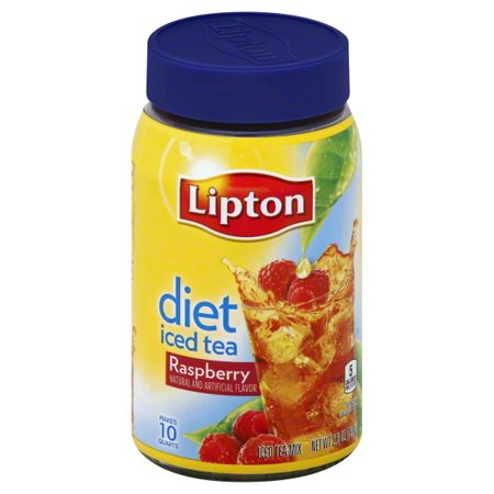 (4 Boxes) Lipton Diet Raspberry Iced Tea Mix, 10 qt