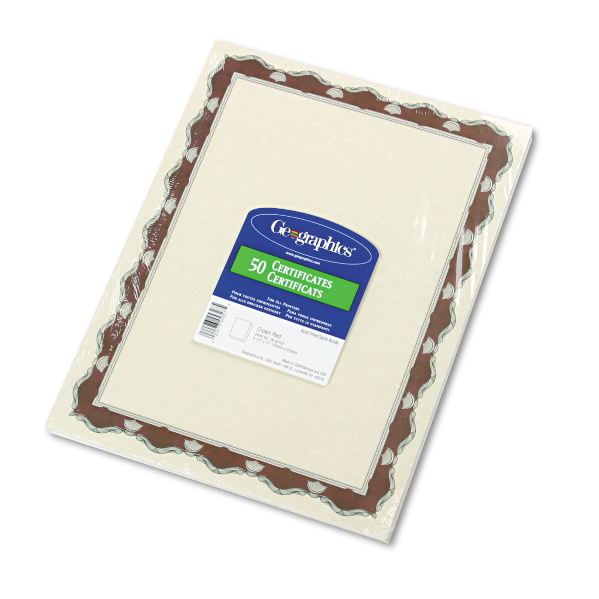 Geographics Parchment Paper Certificates, 8-1/2 x 11, Red Crown Border, 50/Pack