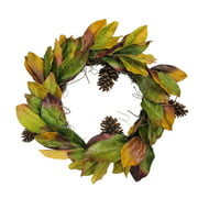 """Northlight 24"""" Autumn Magnolia Leaf and Pine Cone Artificial Thanksgiving Wreath - Green/Brown"""