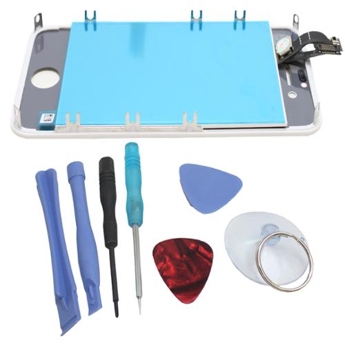 White iPhone 4S Digitizer + LCD Assembly + 7pc tools (for AT&T/Verizon/Sprint iPhone 4S) - White Box Packaging