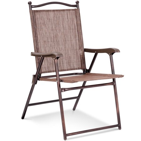 Gymax Set of 2 Folding Patio Furniture Sling Back Chairs Outdoors brown - image 3 de 8