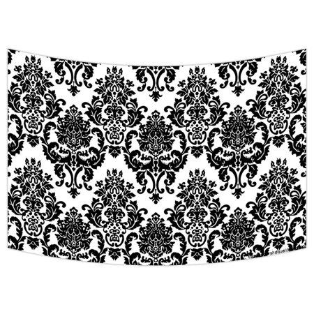 ZKGK Damask Pattern Tapestry Wall Hanging Wall Decor Art for Living Room Bedroom Dorm Cotton Linen Decoration 90x60 Inches ()