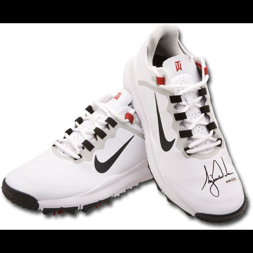 Tiger Woods Signed Autographed Golf Shoes White Nike Air Zoom TW13 Spikes UDA