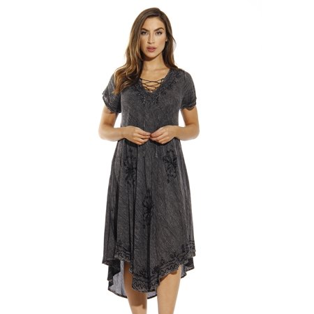 Embroidered Lace Wedding Dress - Riviera Sun Lace Up Acid Wash Embroidered Dress Short Sleeve Dresses for Women