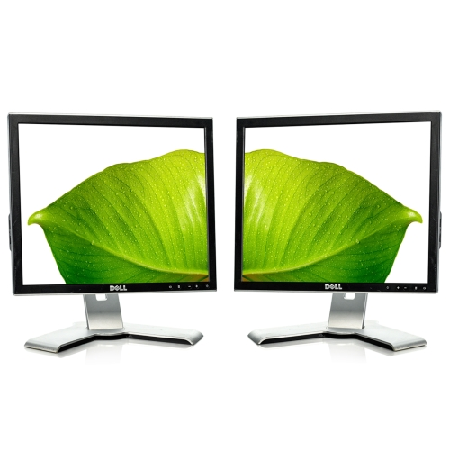 "LOT OF 2 Refurbished Silver Dell 1708FP 17"" 1280x1024 5:4 LCD TFT Monitor Grade B"
