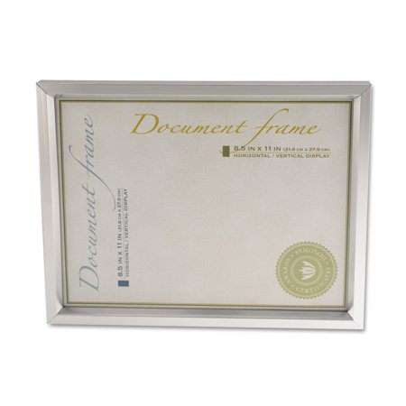 Universal Plastic Document Frame, for 8 1/2 x 11, Easel Back, Metallic Silver -UNV76853 ()