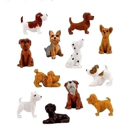 Jack Russell Chihuahua (18 pieces - complete set plus 6 more adopt a puppy dog figures dachshund basset hound bull terrier jack russell dalmatian black labrador yorkshire boxer bloodhound bulldog poodle chihuahua toy)