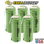 5x Exell 1.2V 2/3AAA 300mAh NiMH Rechargeable Batteries w/ Tabs FAST USA SHIP