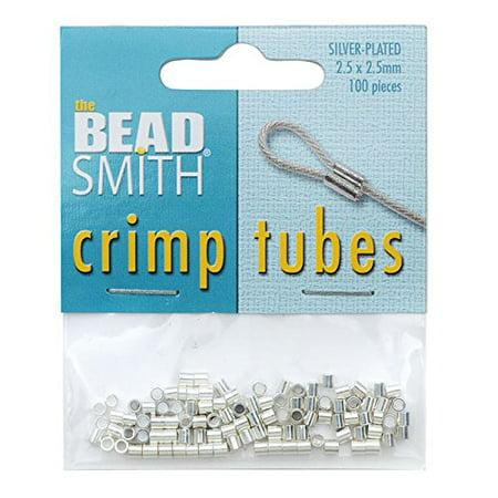 Crimp Tubes 2.5x2.5mm 100-pieces Silver Plated, Color: Silver By Beadsmith (Crimp Tubes Silver)