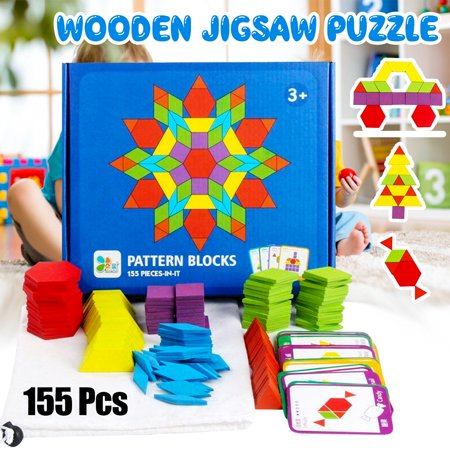 155Pcs Kids Wooden Pattern Blocks Set,Wood Geometry Shape Jigsaw Puzzle Game with 24 Design Cards , Montessori Toys for Kids Early Educational Brain Creativity Train, Kids Gift Purple Gift Card