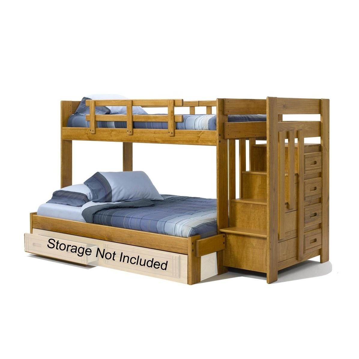 Chelsea Home Furniture Honey Twin over Full Bunk Bed with Stairway Chest
