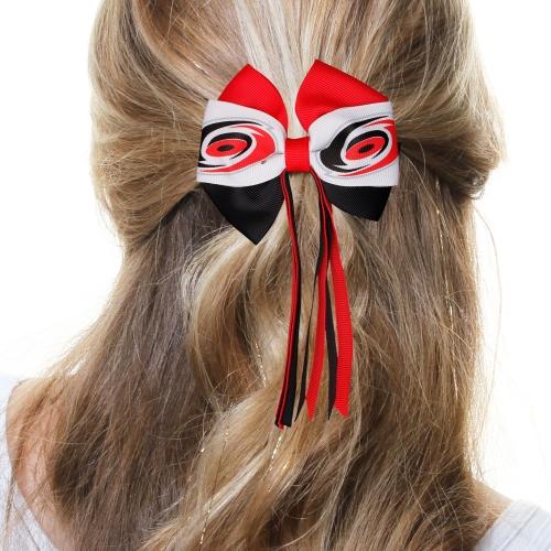 Carolina Hurricanes Women's Mini Streamer Hair Bow - Red/Black - No Size