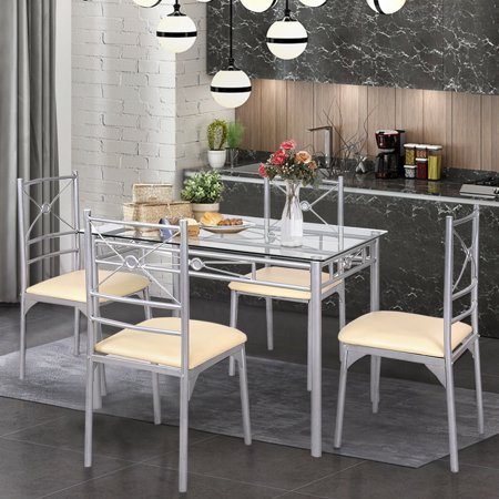 Gymax Dining Set 5 Piece Table Chairs Tempered Glass Kitchen Dining Room Furniture ()