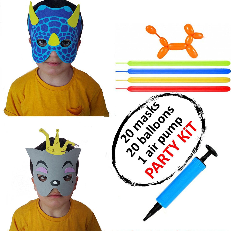 Animal Masks for Kids, Balloons and Air Pump, Birthday Halloween Christmas Easter Party Favors, Zoo Superhero Dinosaur Bear Elephant etc. Face Eye Mask, Costume Dress-Up Kit for Children (Set of 41)