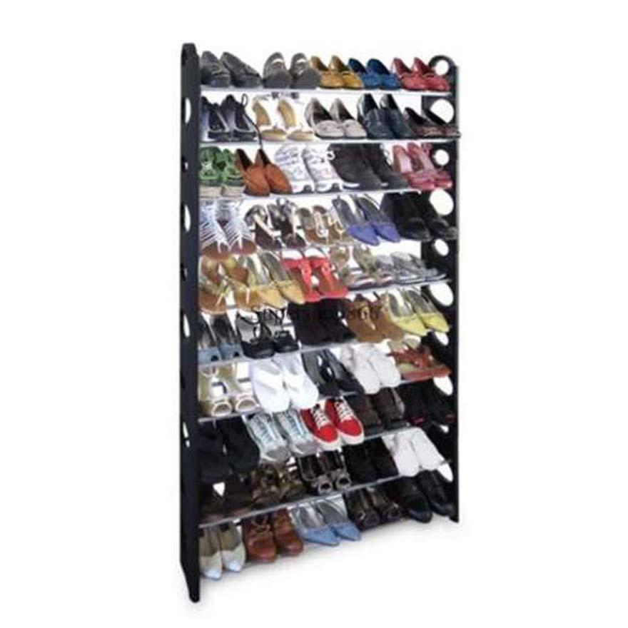 10 Tier Stainless Steel Shoe Rack / Shoe Storage Stackable Shelves - Holds 50 Pairs Of Shoes - 39.125 X 11.125 X 69.5 - Black
