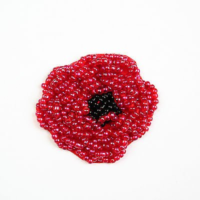 Lily 1 75 X2 Red Black Beaded Poppy Flower Sewing Applique Patch