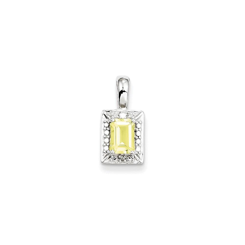 Sterling Silver Lemon Quartz Diamond Pendant. Gem Wt- 0.53ct
