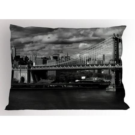 New York Pillow Sham Black and White Panorama of New York City Skyline with Focus on Manhattan Bridge Photo, Decorative Standard Size Printed Pillowcase, 26 X 20 Inches, Grey, by Ambesonne (New York Mets Sham)