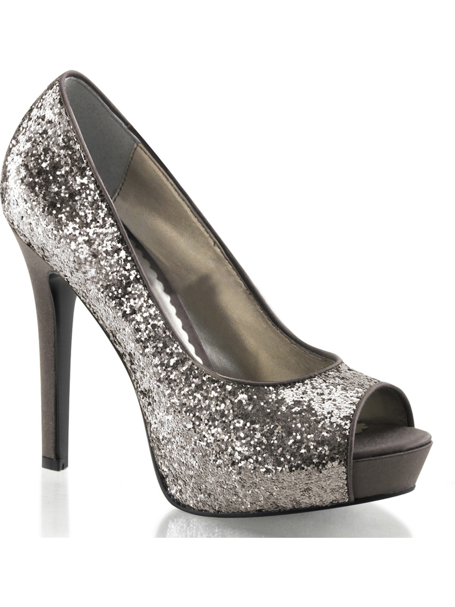 952b09aa4095a Womens Charcoal Silver Grey Glitter Peep Toe Pumps Shoes with 4.75 Inch  High Heel Size 6