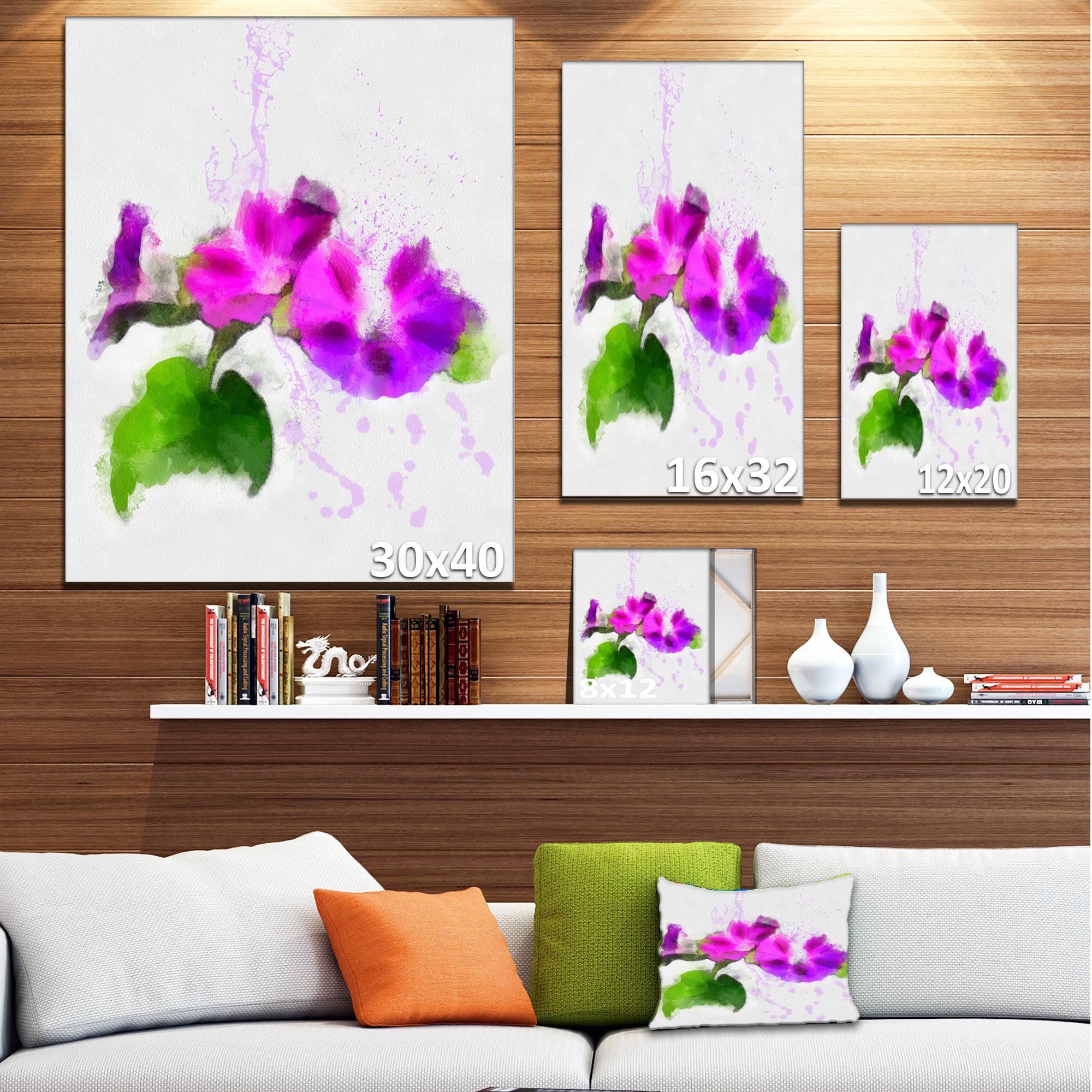 Stem of Convolvulus Flower Drawing - Floral Canvas Art Print - image 2 de 4