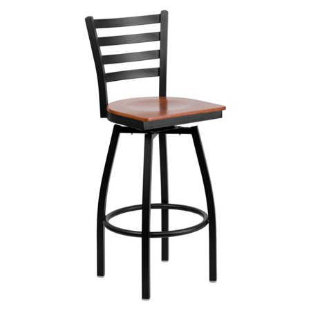 Flash Furniture Hercules Series Black Ladder Back Swivel Metal Barstool Wood Seat Multiple Colors