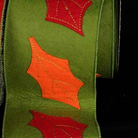 Felt Leaves (Green Felt Autumn Leaves Wired Craft Ribbon 4