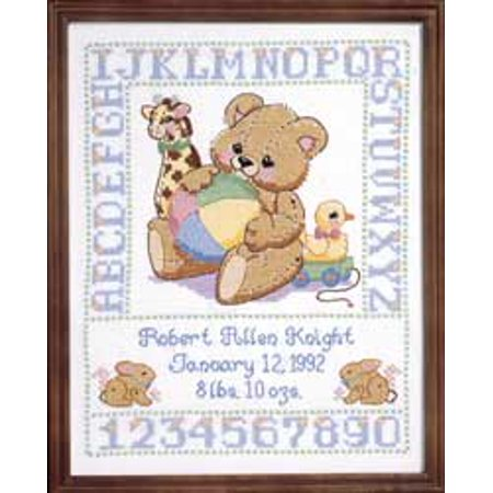 Janlynn Bear Birth Sampler Stamped Cross Stitch Kit, 11
