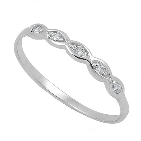 Infinity Pattern Cubic Zirconia Ring Sterling Silver 925