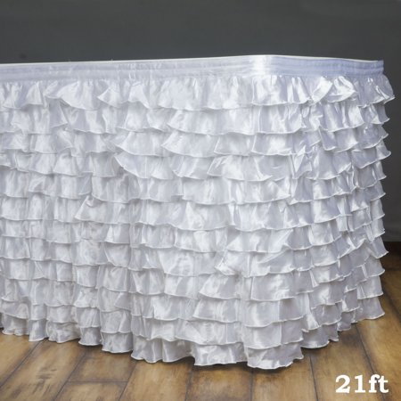 Efavormart Flamenca Satin Ruffle Table Skirt for Kitchen Dining Catering Wedding Birthday Party Decorations Events](Ruffled Table Skirt)