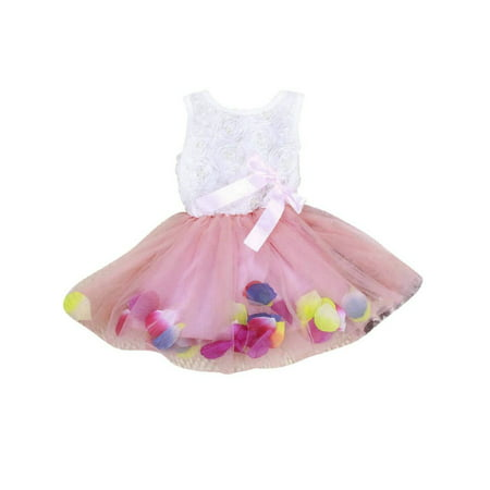 Tea Girl Dresses (Toddler Baby Girls Princess Party Tutu Lace Bow Skirt Kids Flower)