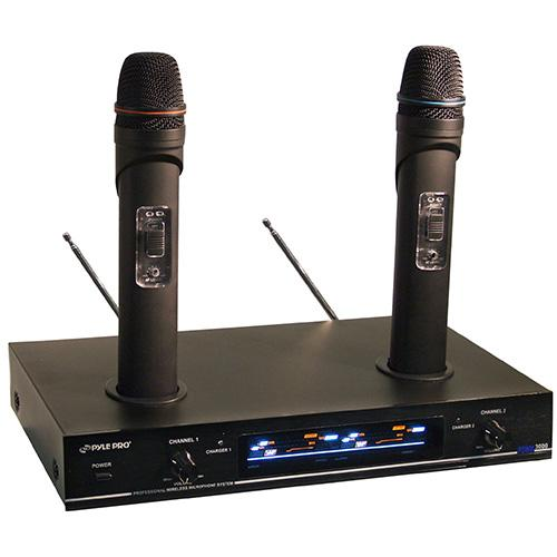 Pyle Audio PYLPDWM3000B PYLE-PRO Dual VHF Rechargeable Wireless Microphone System