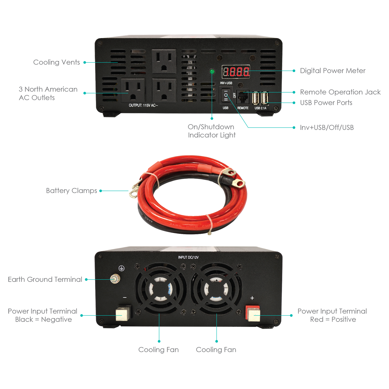 The Whistler Group Xp1200i Inverter 1200w 12v Hardwired Project For 20 Or 40 Watt Fluorescent Tubes 8211