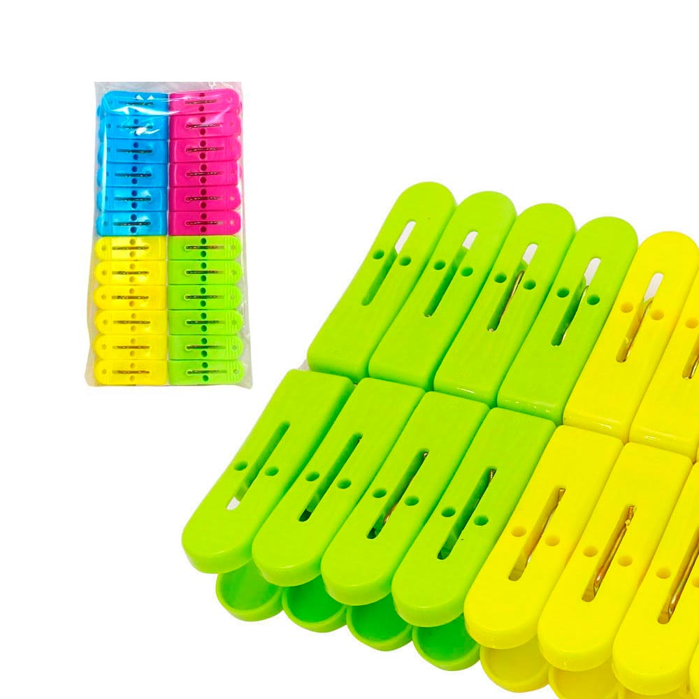 Household Essentials 7-Coil 14 Count Spring Decorative Plastic Clothespins Modern Floral Design