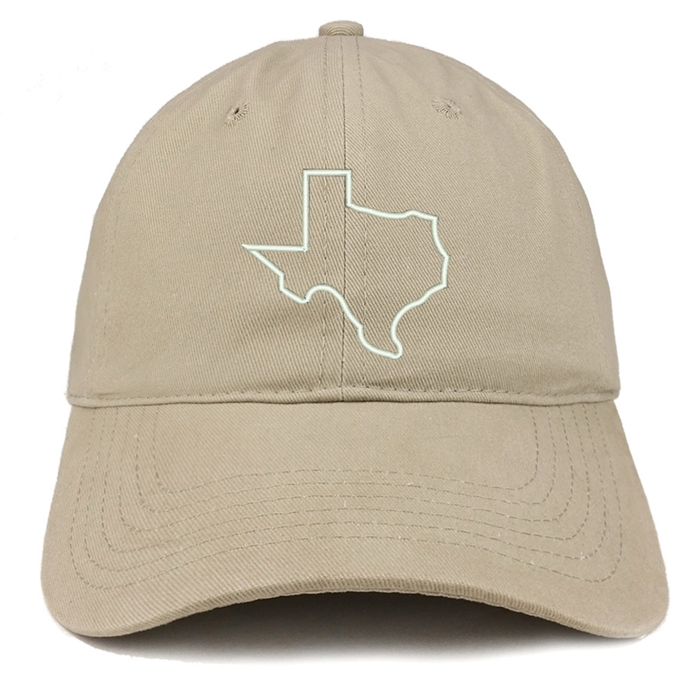 Texas State Outline Embroidered Brushed Cotton Dad Hat Cap - Black
