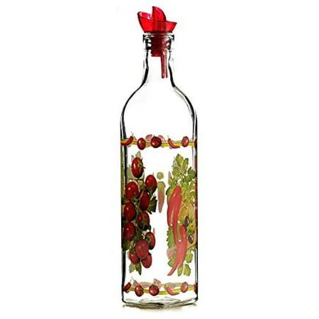 Grant Howard Country Veggies Oil & Vinegar Glass Cruet with Ergo Pourer, 16 oz, (Glass Vinegar Cruet)