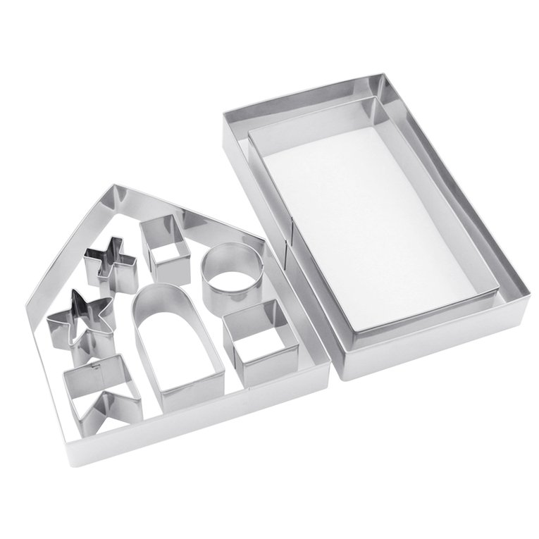 Oie Loves Stainless Steel Cookie Cutter 10Pcs/Set Diy Kitchen Biscuit Fondant Mold