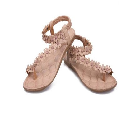 Summer Bohemia Sweet Beaded Sandals Clip Toe Sandals Beach Shoes WH 39](Beaded Sandals)
