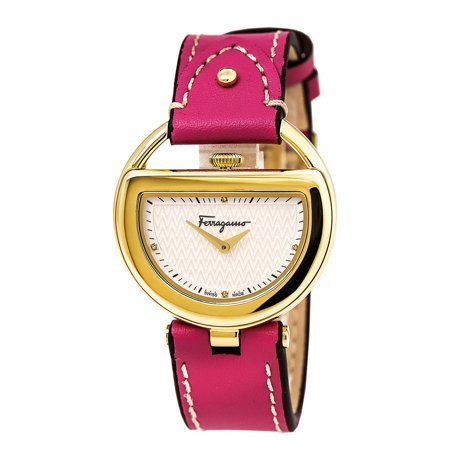 (Ferragamo FG5050014 Women's Buckle Diamond Accented Silver Dial Pink Leather Strap Watch)