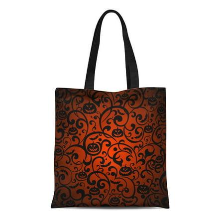 LADDKE Canvas Tote Bag Orange Pattern Halloween Vintage Silhouette Bat Black Autumn Branch Reusable Shoulder Grocery Shopping Bags Handbag - Halloween Bag Pattern
