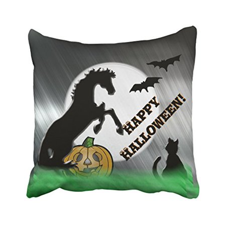 WinHome Popular Vintage Halloween Horses Cat Pumpkin Simple Silhouette Polyester 18 x 18 Inch Square Throw Pillow Covers With Hidden Zipper Home Sofa Cushion Decorative Pillowcases - Simple Halloween Martini