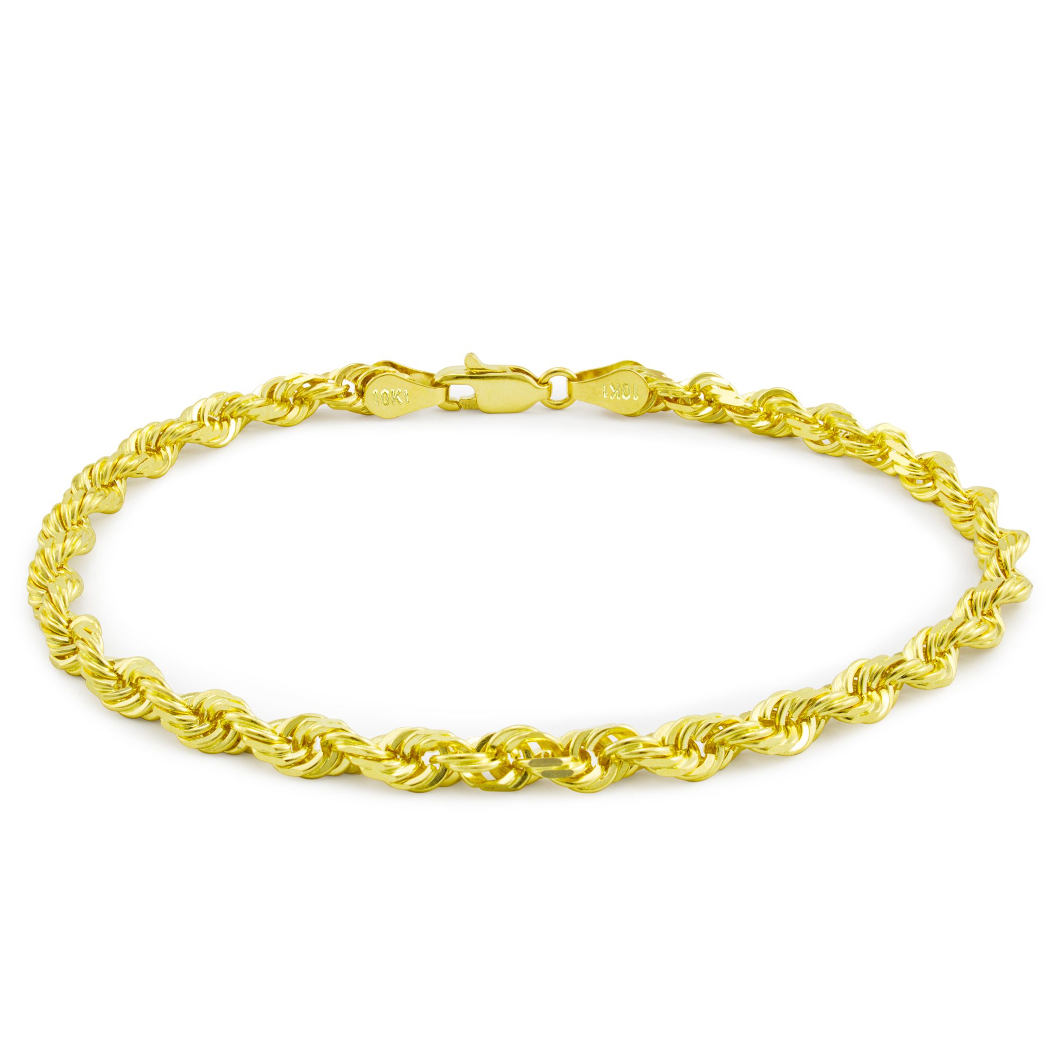 21k Yellow Gold Unisex 21mm Solid Rope Chain Bracelet or Anklet, 21