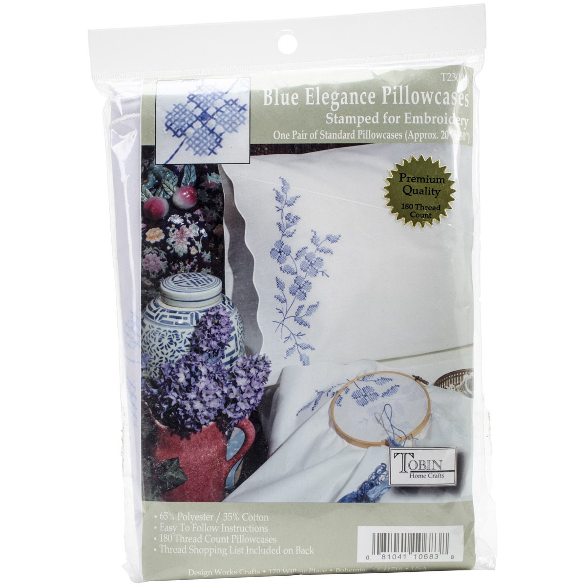 "Tobin Blue Elegance Stamped Pillowcase Pair For Embroidery, 20"" x 30"""
