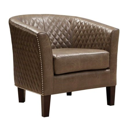 PRI Faux Leather Accent Chair in Brown ()
