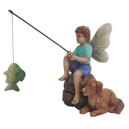 Miniature Fishing Fairy Boy and Dog Garden Ornament Mini Dollhouse Decor Accessory