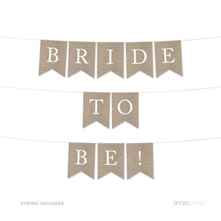 Bride To Be Burlap Wedding Pennant Party Banner (Bride To Be Banner)