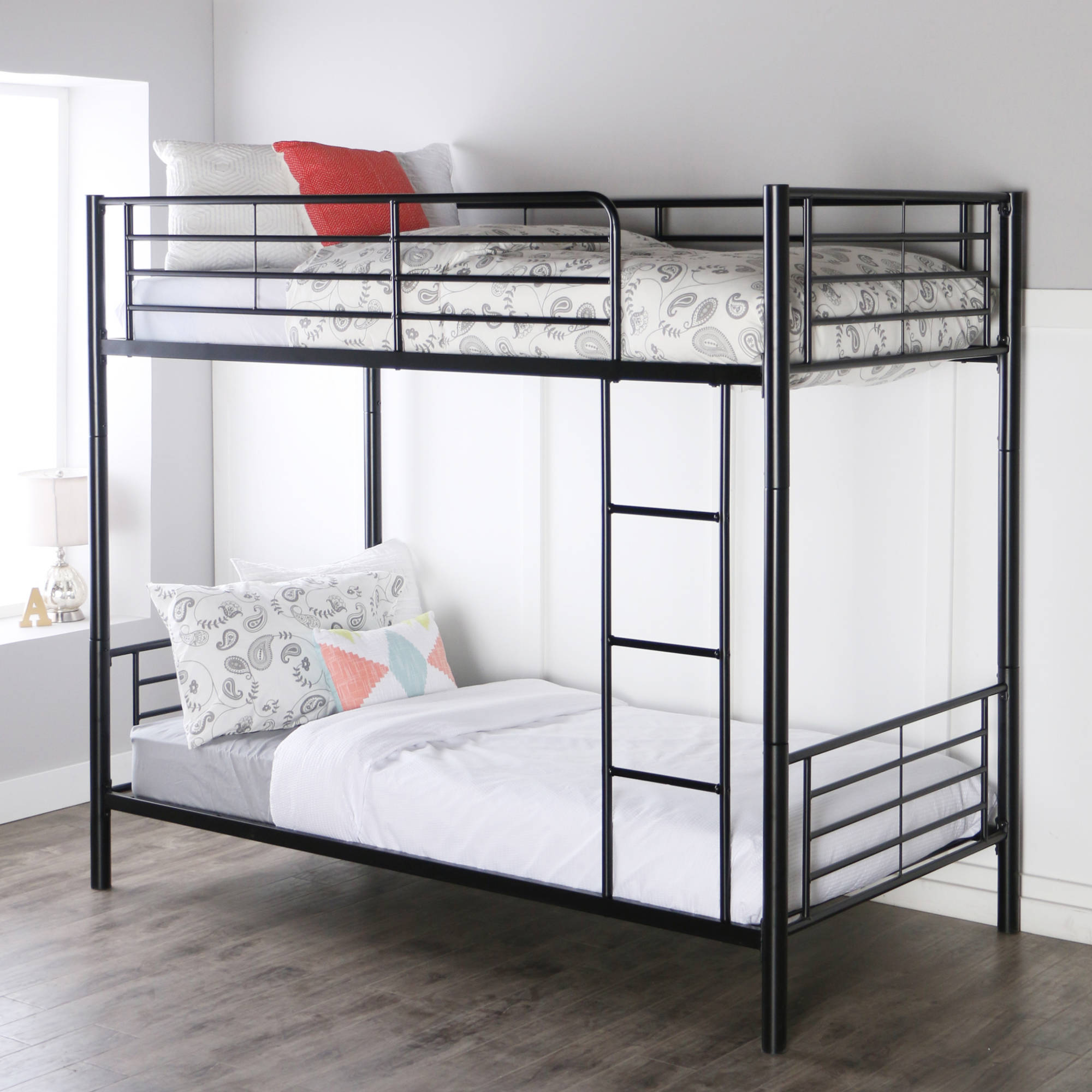 Premium Black Metal Twin-Over-Twin Bunk Bed, Multiple Colors